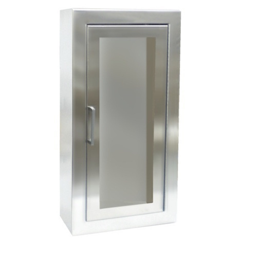 Stainless Steel Surface Mount Full Glass Door Fire Extinguisher Cabinet