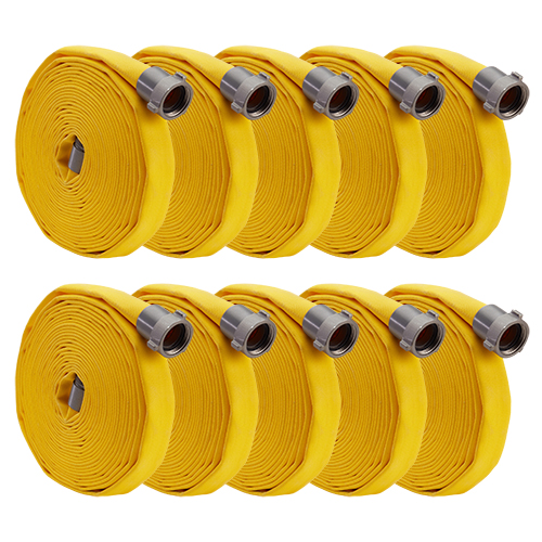 """Yellow 1"""" x 100 Forestry Hose (Alum NPSH Couplings - 10 Pack)"""