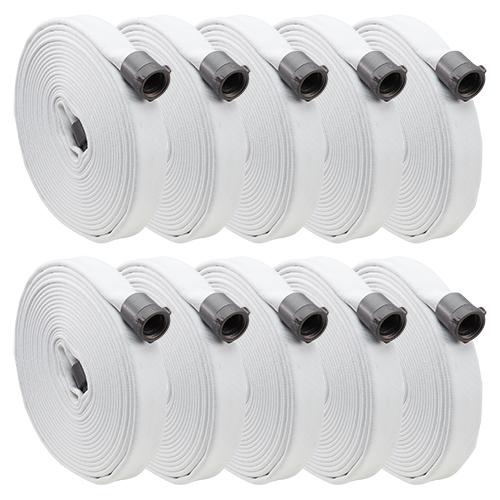 "White 1"" x 100 Single Jacket Hose (Alum NPSH Couplings - 10 Pack)"