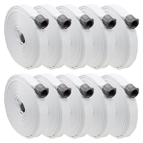 "White 1"" x 50 Single Jacket Hose (Alum NPSH Couplings - 10 Pack)"