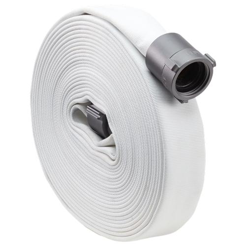 """White 1"""" x 50 Single Jacket Hose (Alum NPSH Couplings)"""