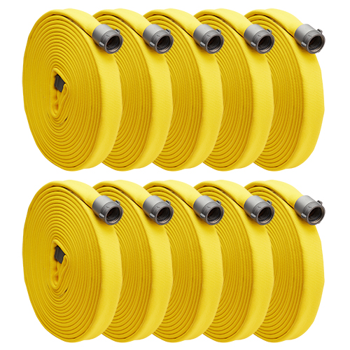 "Yellow 1"" x 50 Single Jacket Hose (Alum NH Couplings - 10 Pack)"