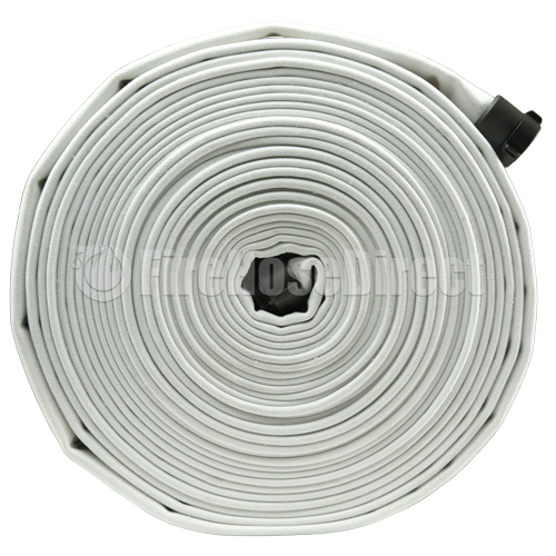 "White 1 1/2"" x 100' Double Jacket Mill Hose (Alum NH Couplings) - 15D3100"