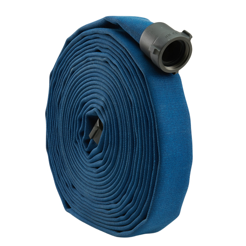 "Blue 1 1/2"" x 50' Double Jacket Mill Hose (Alum NH Couplings)"