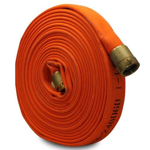 "Orange 1 1/2"" x 25 Mil-Spec Hose (Brass NPSH Couplings)"
