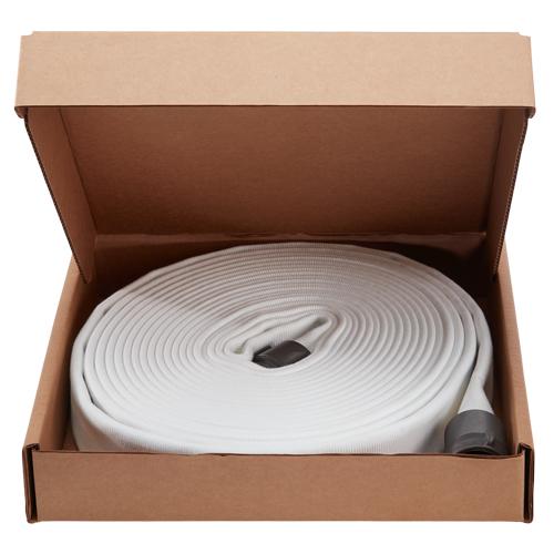 """White 1 1/2"""" x 100' Double Jacket Fire Hose (Alum NH Couplings) - 15D8100"""