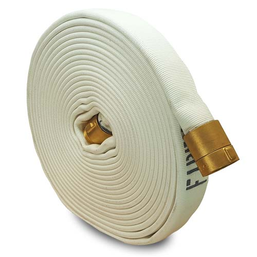 """White 1 1/2"""" x 50' Double Jacket Fire Hose (Brass NH Couplings)"""