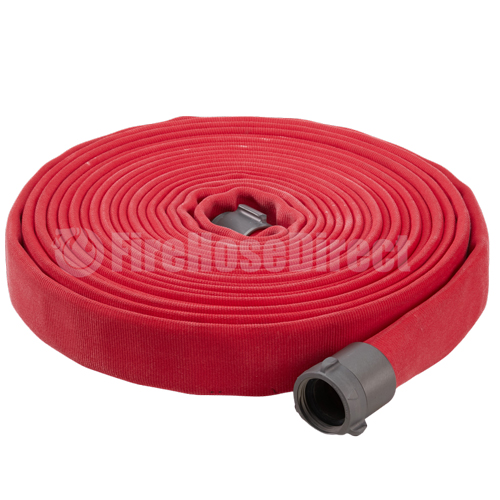 "Red 1 1/2"" x 50' Double Jacket Fire Hose (Alum NH Couplings) - 15D850RD"