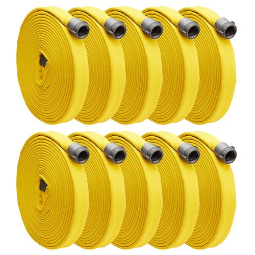 "Key Fire Big 10 Yellow 1 1/2"" x 50' Double Jacket Fire Hose (10 Pack)"