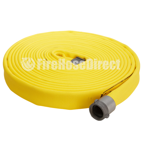 """Yellow 1 1/2"""" x 50' Double Jacket Fire Hose (Alum NH Couplings) - 15D850YL"""