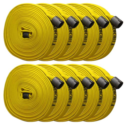"Yellow 1 1/2"" x 50 Forestry Hose (Alum NH Couplings - 10 Pack)"