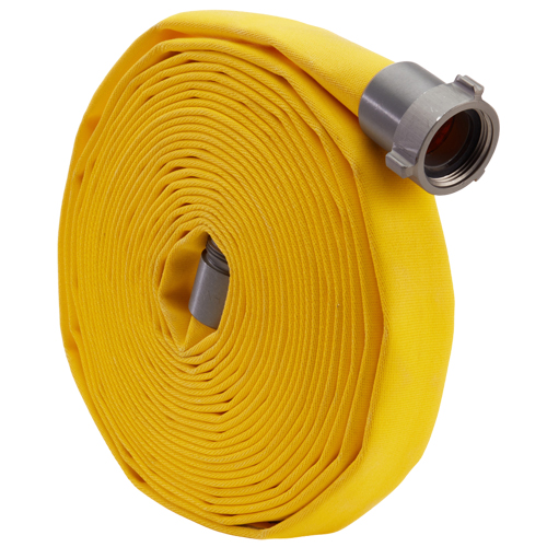 """Yellow 1 1/2"""" x 50' Forestry Hose (Alum NH Couplings)"""