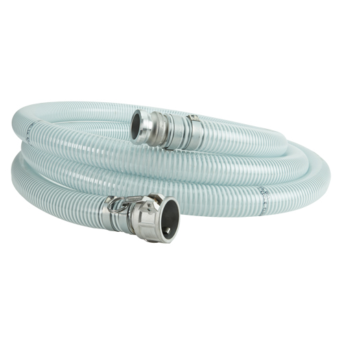 """White - Clear 1 1/2"""" x 20 Camlock Suction Hose"""