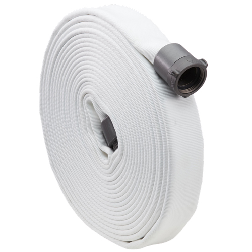 """White 1 1/2"""" x 100' Double Jacket Industrial Hose (Alum NH Couplings)"""