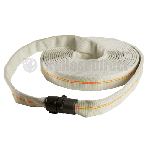 """White 1 1/2"""" x 100' Double Jacket Industrial Hose (Alum NH Couplings) - 15LD8100"""