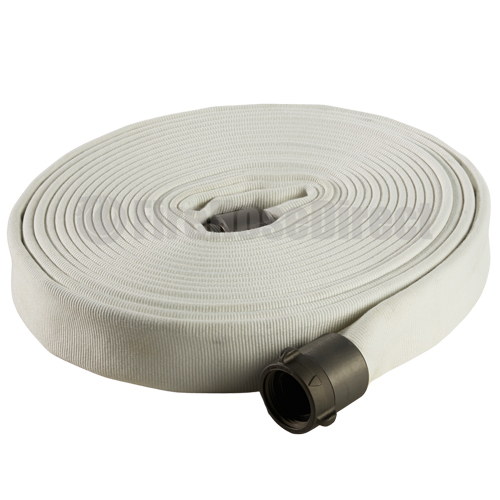 """White 1 1/2"""" x 50' Double Jacket Industrial Hose (Alum NH Couplings) - 15LD850"""