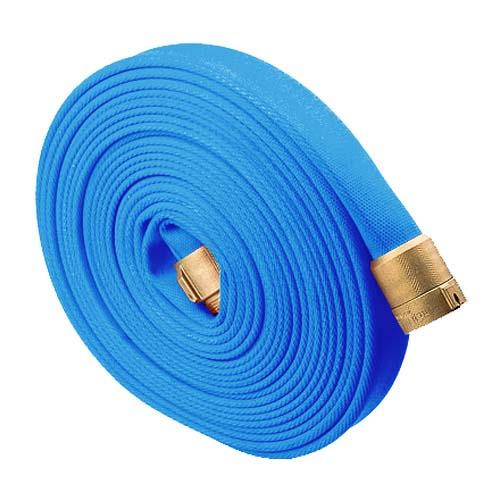 "Blue 1 1/2"" x 50 Potable Water Hose (Brass NH Couplings) potable water, fire hose, firefighting hose , firefighter hose, rubber fire hose"
