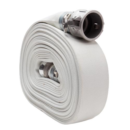 "White 1 1/2"" x 50 Camlock Single Jacket Mill Hose"
