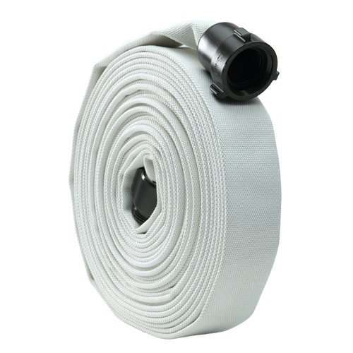 "White 1 1/2"" x 50 Single Jacket Mill Hose (Alum NPSH Couplings)"
