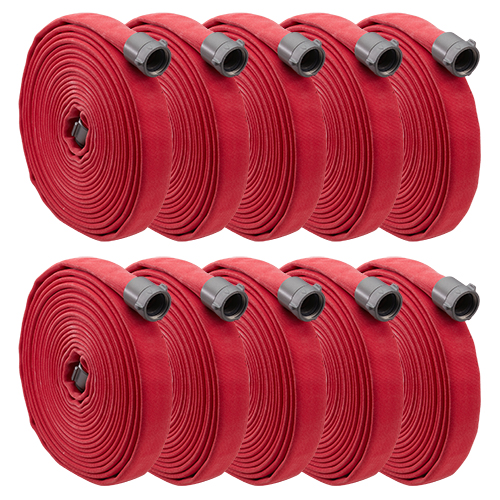 """Key Fire Big-10 Red 1 3/4"""" x 50 Double Jacket Fire Hose (10 Pack)"""
