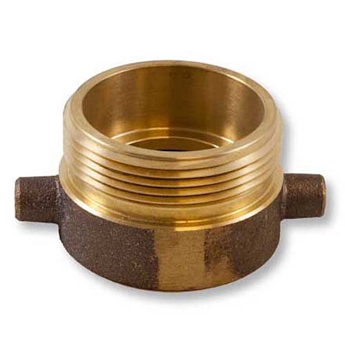 "Brass 2"" Female NPT to 2 1/2"" Male NH (Pin Lug) Brass Female To Male Adapter"