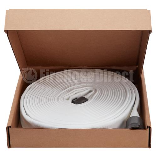 """White 2 1/2"""" x 50' Double Jacket Fire Hose (Alum NH Couplings) - 25D850"""