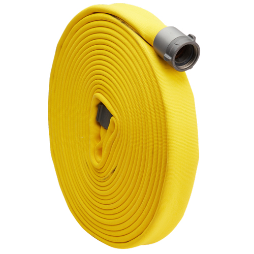 "Yellow 2 1/2"" x 50 Double Jacket Fire Hose (Alum NH Couplings)"