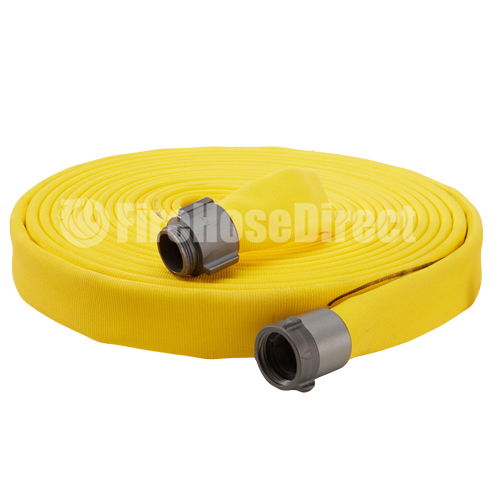 """Yellow 2 1/2"""" x 50' Double Jacket Fire Hose (Alum NH Couplings) - 25D850YL"""