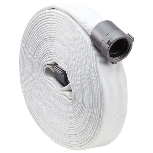 "White 2 1/2"" x 50' Single Jacket Hose (Alum NH Couplings)"