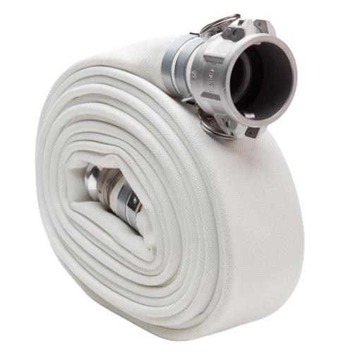 "White 3"" x 25 Camlock Double Jacket Mill Hose"