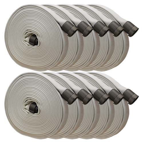 """White 3"""" x 50 Double Jacket Fire Hose (Alum 2 1/2"""" NH Couplings - 10 Pack)"""