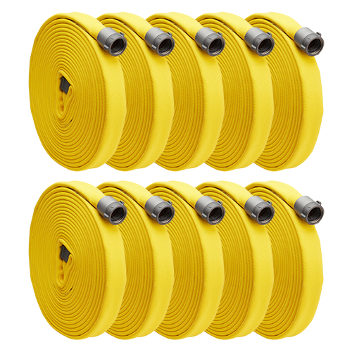 """Yellow 3"""" x 50 Double Jacket Fire Hose (Alum 2 1/2"""" NH Couplings - 10 Pack)"""