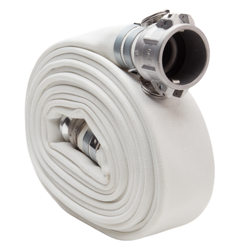 "White 4"" x 25 Camlock Double Jacket Mill Hose"