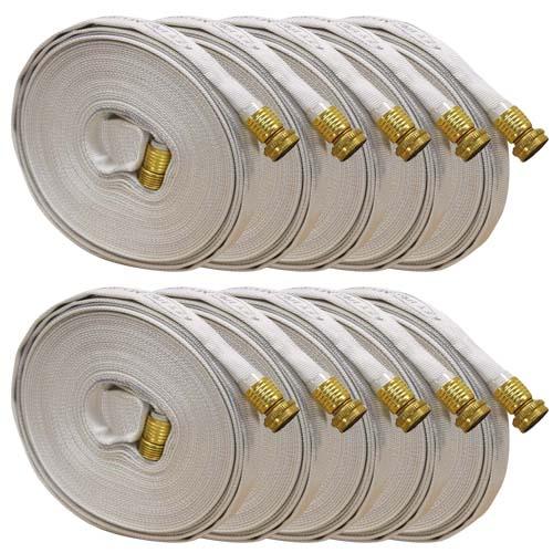"White 5/8"" x 50 Forestry Hose (Brass Garden Hose Couplings - 10 Pack)"