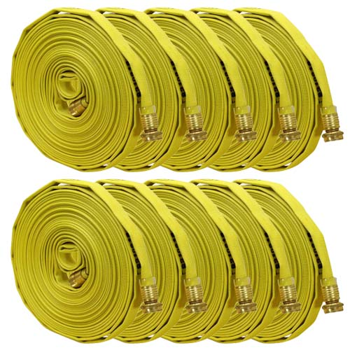 """Yellow 5/8"""" x 50 Forestry Hose (Brass Garden Hose Couplings - 10 Pack)"""