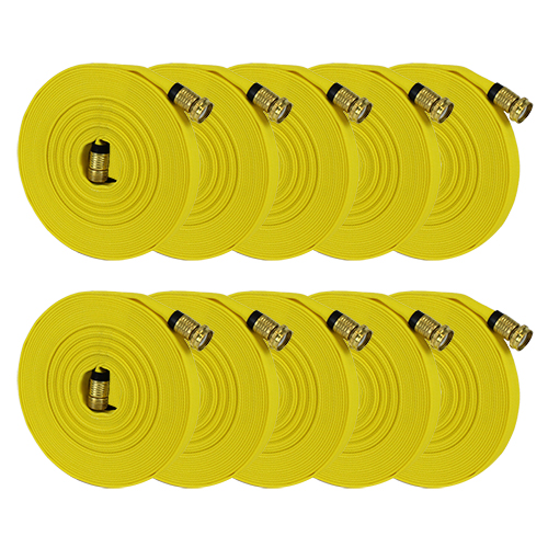 "Yellow 5/8"" x 50 Forestry Hose (Brass Garden Hose Couplings - 10 Pack)"