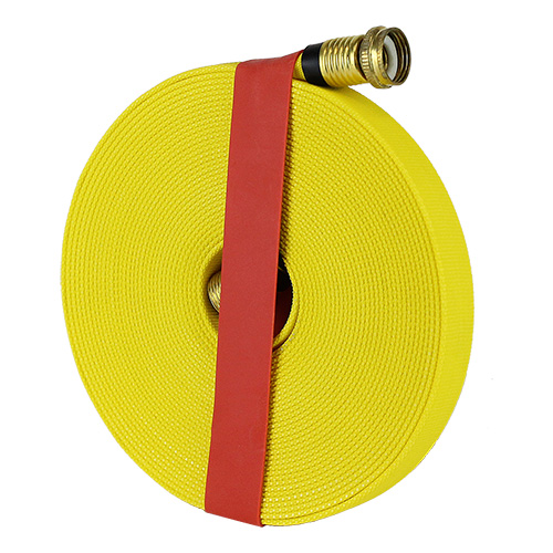 "Yellow 5/8"" x 50 Forestry Hose (Brass Garden Hose Couplings) with Rubber Band"