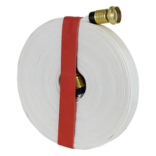"White 3/4"" x 50 Forestry Hose (Brass Garden Hose Couplings) with Rubber Band"