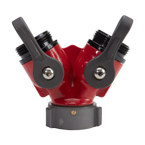 """Aluminum Red 1 1/2"""" NH Inlet x (2) 1 1/2"""" NH Outlet"""
