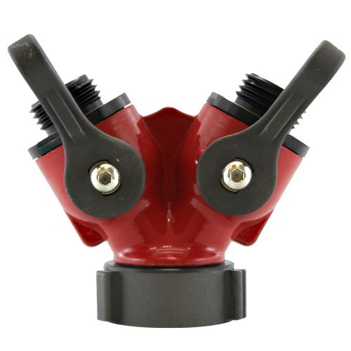 """Aluminum Red 1 1/2"""" NPSH Inlet x (2) 1"""" NPSH Outlet"""