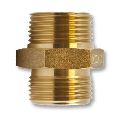 """Brass 1"""" NH to 1"""" NH Double Male (Hex) Brass Double Male To Male Adapter"""