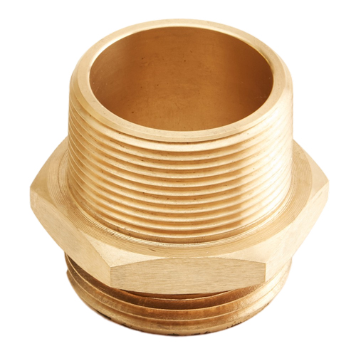"""Brass 1 1/2"""" NH to 1 1/2"""" NPT Double Male (Hex) - USA"""