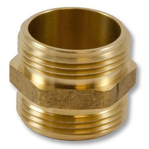 "Brass 1 1/2"" NPT to 1 1/2"" NPT Double Male (Hex) Brass Double Male Adapter"