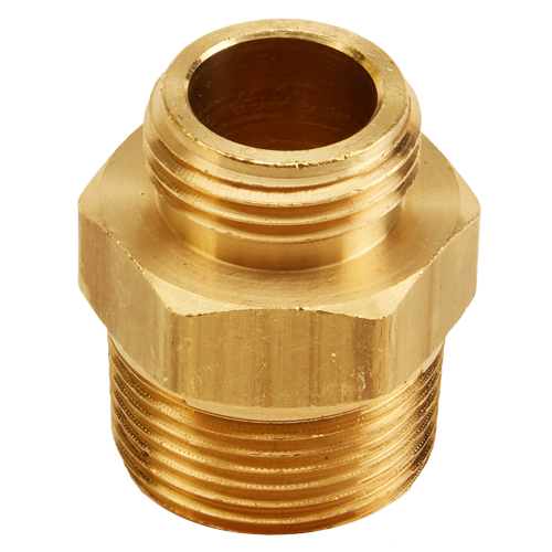 """Brass 1"""" NPT to GHT Double Male (Hex)"""