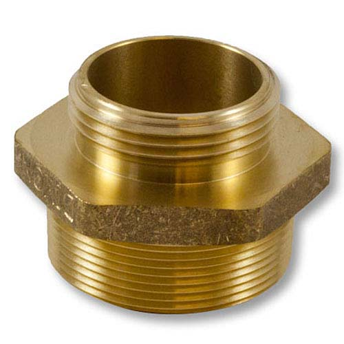 """Brass 2"""" NPT to 1 1/2"""" NH Double Male (Hex) Brass Double Male Adapter"""