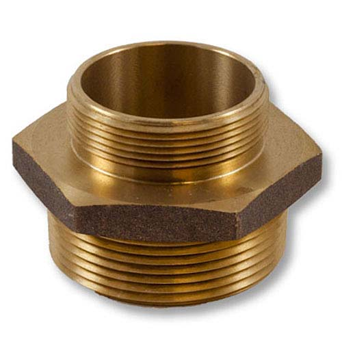 """Brass 4 1/2"""" NH to 4"""" NPT Double Male (Hex) Brass Double Male Adapter"""