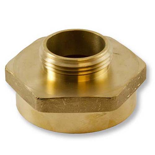 "Brass 2"" Female NPSH to 1 1/2"" Male NPT (Hex) Brass Rigid Female To Rigid Male Reducer Adapter"