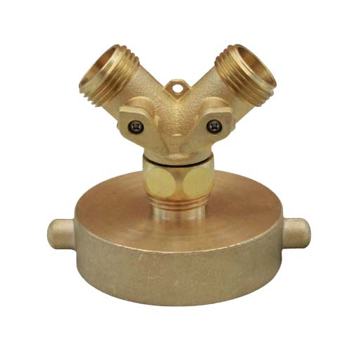 """Brass 2 1/2"""" NH Inlet x (2) GHT Outlet"""