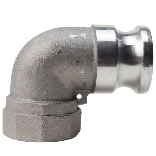 "Aluminum 1 1/ 2"" Male Camlock x 1 1/2"" Female NPT 90 Degree Elbow (USA)"
