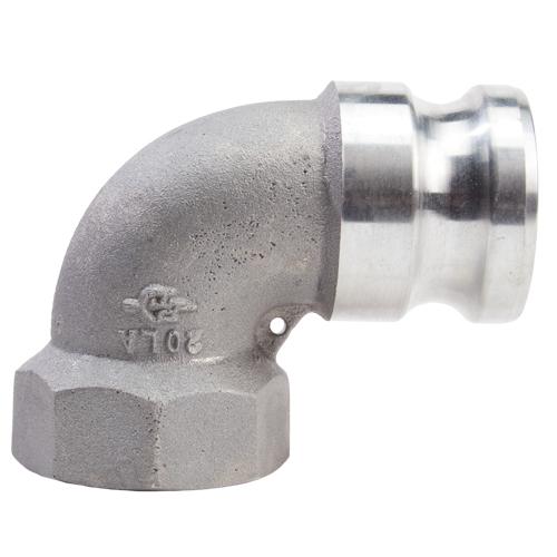 "Aluminum 2"" Male Camlock x 2"" Female NPT 90 Degree Elbow (USA)"
